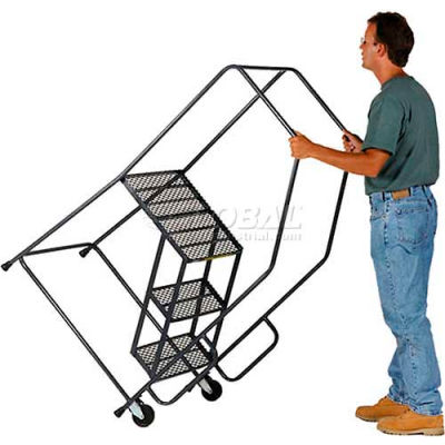 4 Step Steel Tilt & Roll Ladder Perforated Tread - HL-4NS-X