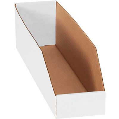 """4"""" x 18"""" x 4-1/2"""" Open Top White Corrugated Bin Box - Pkg Qty 50"""