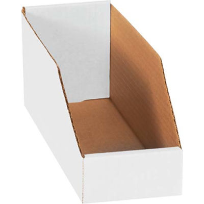 """4"""" x 12"""" x 4-1/2"""" Open Top White Corrugated Bin Box - Pkg Qty 50"""
