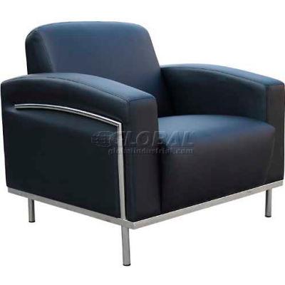 Chaise de salon de réception Boss avec bras - vinyle - noir