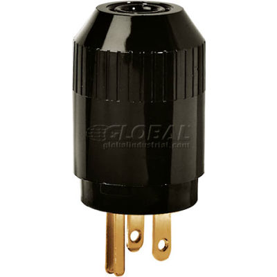 Bryant 5965B TECHSPEC® Straight Blade Plug, 15A, 125V, Black
