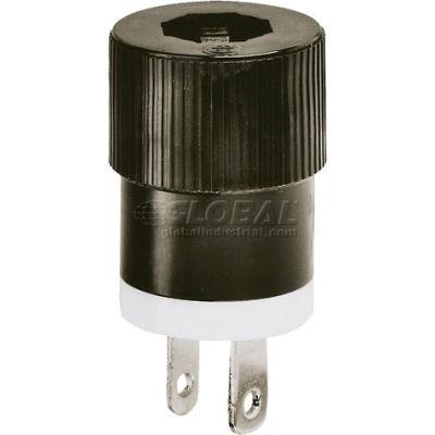 Bryant 9754NS Straight Blade Plug, 15A, 125V, Black/White