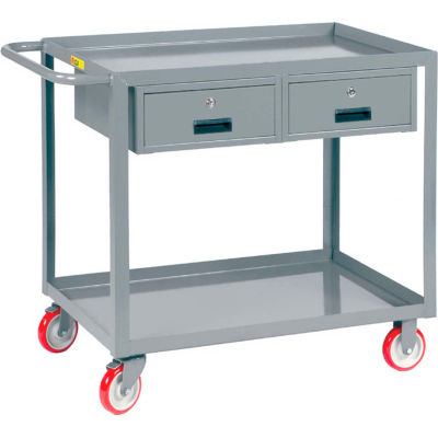 "Little Giant® Service Cart, 2 Drawers & 2 Lip Shelves, 24""Wx36""L"