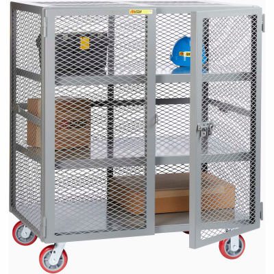 Little Giant® Mobile Storage Locker SC2-2460-6PPY, 2 Center Shelves, 24 x 60, Poly Wheels