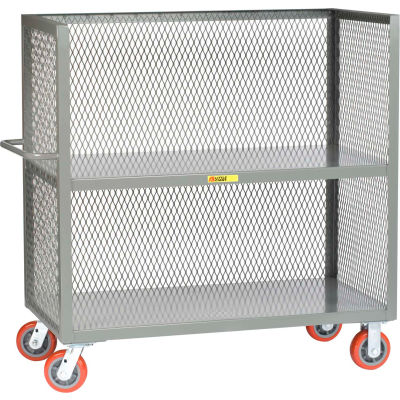 Little Giant® 3-Sided Truck T2-2448-6PY, 2 Shelves, Mesh Sides, 24 x 48
