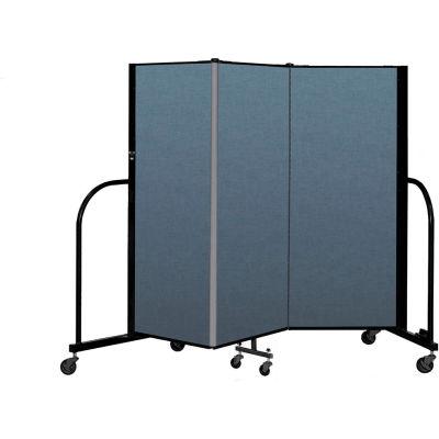 "Screenflex Portable Room Divider 3 Panel, 5'H x 5'9""L, Fabric Color: Blue"