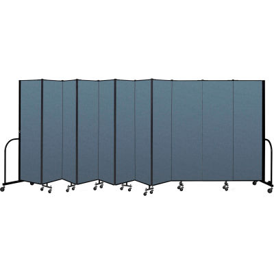 "Screenflex Portable Room Divider 11 Panel, 6'8""H x 20'5""L, Fabric Color: Blue"