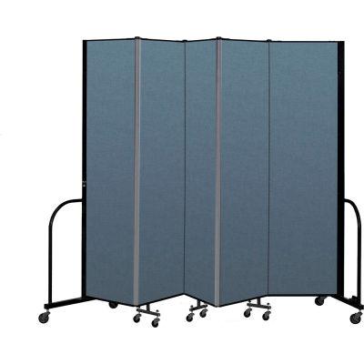"Screenflex Portable Room Divider 5 Panel, 7'4""H x 9'5""L, Fabric Color: Blue"
