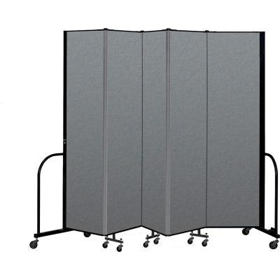"Screenflex Portable Room Divider 5 Panel, 7'4""H x 9'5""L, Fabric Color: Gray"