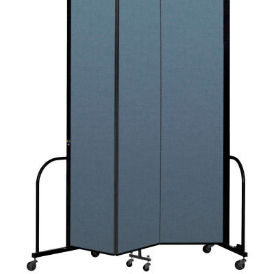 "Screenflex Portable Room Divider 3 Panel, 8'H x 5'9""L, Fabric Color: Blue"