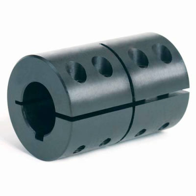 "One-Piece Clamping Couplings Recessed Screw w/Keyway, 7/8"", Black Oxide Steel"