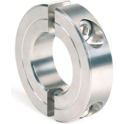 """Two-Piece Clamping Collar Recessed Screw, 7/8"""", Stainless Steel"""