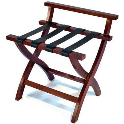 Premier Curved Wood High Back Luggage Rack, Mahogany, Black Leather Straps, 1 Pk