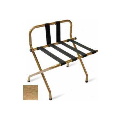 Luxury High Back Antique Inca Gold Luggage Rack w/ Back Strap, Black Straps 1 Pk