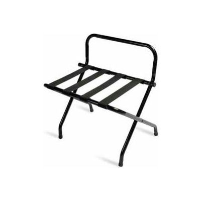 Luxury High Back Black Luggage Rack with Black Straps - 1 Pack