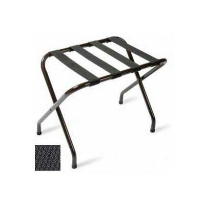 Flat Top Black Luggage Rack with Black Straps, 1 Pack