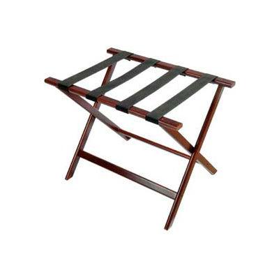 Economy Flat Top Wood Luggage Rack, Cherry Mahogany, Black Straps 6 Pack - Pkg Qty 6