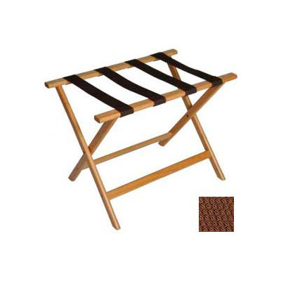 Economy Flat Top Wood Luggage Rack, Light Oak, Brown Straps 1 Pack
