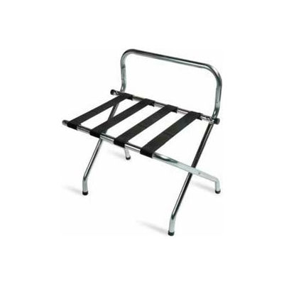 High Back Zinc Luggage Rack with Black Straps, 1 Pack