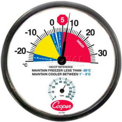 """Cooper-Atkins® Wall Thermometer, 212-159c-8, 12"""", Cooler/Freezer, With Humidity Meter-Min Qty 3"""
