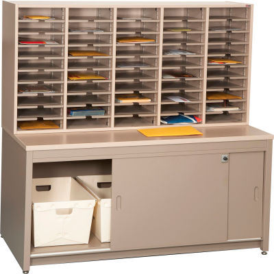 Mail Master Oversize Workstation 7, Regal Cherry Laminate Top Medium Gray Finish