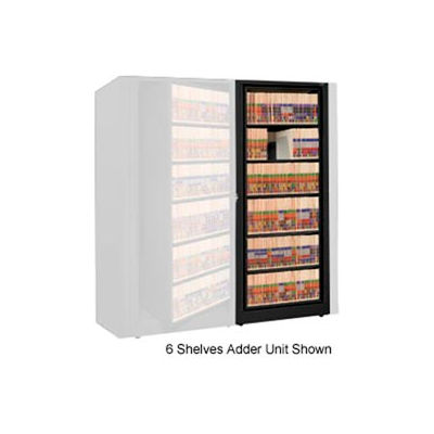 Rotary File Cabinet Adder Unit, Legal, 4 Shelves, Black