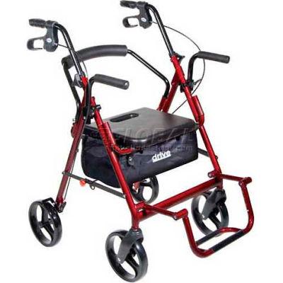 """Drive Medical 795BU Duet Transport Wheelchair Chair Rollator Walker, Burgundy, 8"""" Casters"""