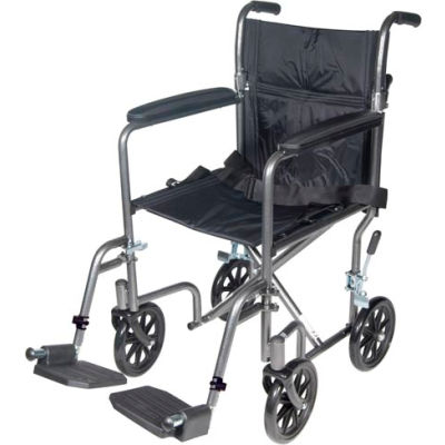 "Drive Medical TR37E-SV Lightweight Steel Transport Wheelchair, Fixed Full Arms, 17"" Seat"