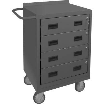 """Durham 2202-95  Mobile Drawer Bench with 4 Drawers 24""""W x 18""""D x 36-1/2""""H - Gray"""
