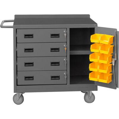 Durham 2211-DLP-RM-10B-95 Mobile Service Bench 10 Bin 4 Drawer & Shelf 42-1/8 x 18-1/4 x 36-3/8 Gray