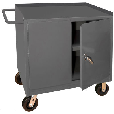 "Durham 3100-95 Mobile Bench Cabinet with 1 Shelf 42-1/8""W x 24-1/4""D x 37-3/4""H - Gray"