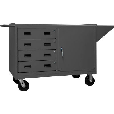 """Durham 3401-95 Mobile Bench Cabinet with 1 Shelf & 4 Drawers 66-1/8""""W x 24-1/4""""D x 37-3/4""""H - Gray"""