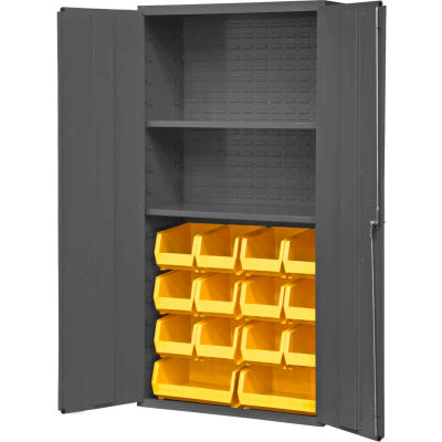"Durham Welded Bin Cabinet 3602-BLP-14-2S-95 - 36"" Flush Door 14 Yellow Bins 2 Shelves"