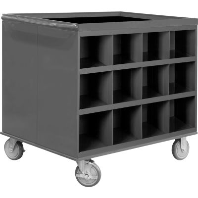 """Durham 663-95 34""""W x 24""""D Two Sided Cart - 24 Compartments, Gray"""