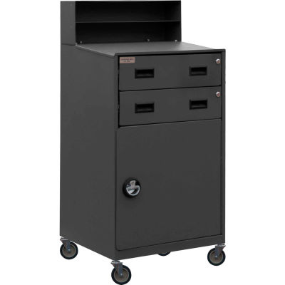 """Durham Mobile Cabinet Desk FED-2023-95 with 2 Lockable Drawers 23""""W x 20""""D x 51""""H - Gray"""