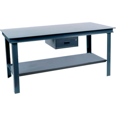 "Durham HWB-3660-95 60""W x 36""D Fixed Legs Workbench - Steel Square Edge. Gray"