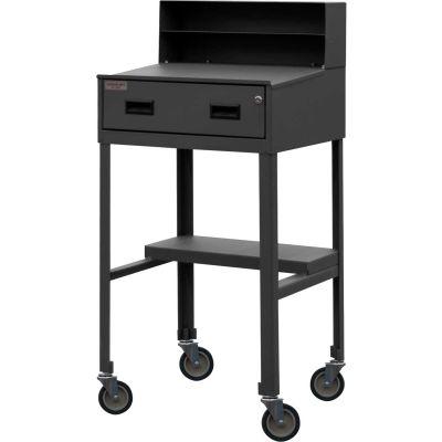 """Durham Mobile Open-Base Shop Desk MSD-2023-95 - Pigeonhole Riser 23""""W x 20""""D x 51""""H Sloped - Gray"""