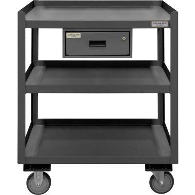 "Durham Mobile Shop Desk PSD-2430-3-D-95 with Drawer & 3 Shelves 30""W x 24""D x 36""H - Gray"