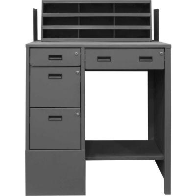 "Durham Pedestal Shop Desk SFWS-392955-95 - 4 Drawers & Shelf 39""W x 29""D x 55-5/8""H - Gray"