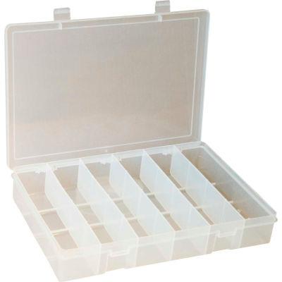 "Durham Small Plastic Compartment Box SP6-CLEAR - 6 Compartment 10-13/16""L x 6-3/4""W x 1-3/4""H - Pkg Qty 10"