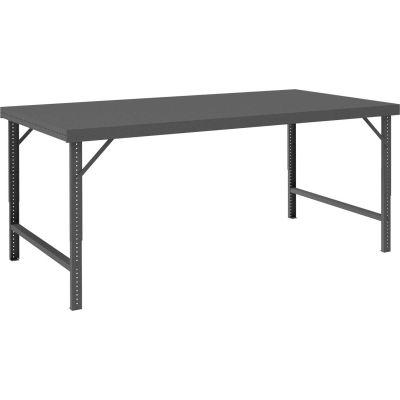 "Durham WBF-3096-95 96""W x 30""D Folding Leg Workbench - Steel Square Edge, Gray"