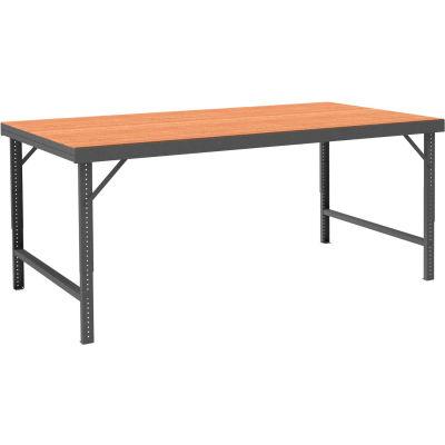 "Durham WBF-TH-4896-95 96""W x 48""D Folding Leg Workbench - Square Edge Shop Top, Gray"