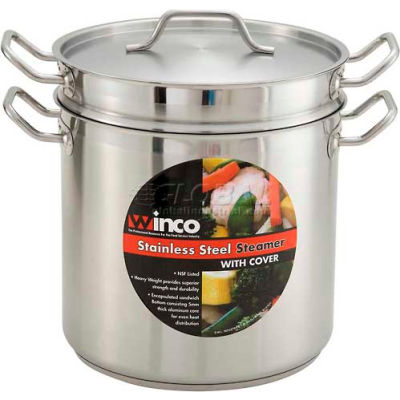 Winco SSDB-20S 20 Qt. Steamer/Pasta Cooker with Cover