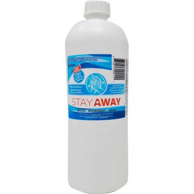 Stay Away Hand Sanitizer Sealed Flat Cap Bottle, 1 L, 12 Bottles/Case -DVEL-STYSGC701000ML