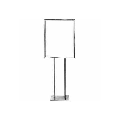 "22"" x 28"" Bulletin Sign Holder w/ Flat Base - Chrome"