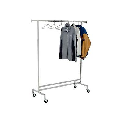 Single Hangrail Rolling Clothes Rack (K43) - Heavy Duty Square Tubing - Chrome