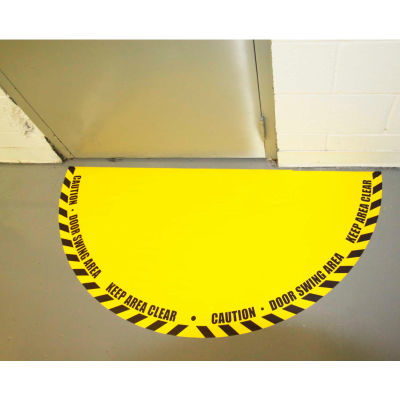 "DuraStripe® Full 180° Door Swing Sign, Black on Yellow, 21"" x 42"""