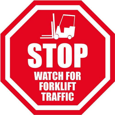 "Durastripe 12"" Octagone Sign - Stop Watch For Forklifts"