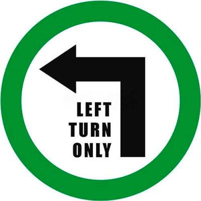 """Durastripe 12"""" Round Sign - Left Turn Only"""