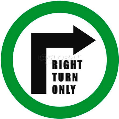 "Durastripe 16"" Round Sign - Right Turn Only"